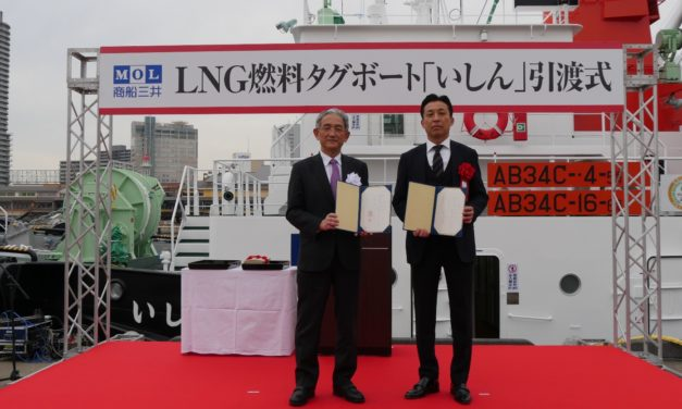 MOL Holds Delivery Ceremony for LNG-fueled Tugboat Ishin  – Marking Solid Progress toward Start of New Business